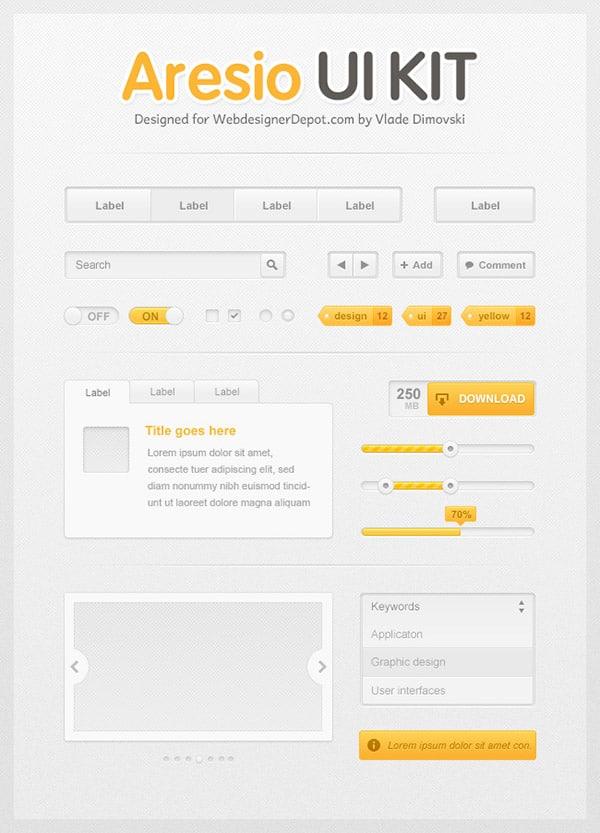 Aresio Free Photoshop UI Kit