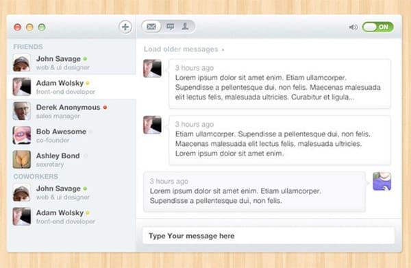 Chat Free Photoshop UI Kit