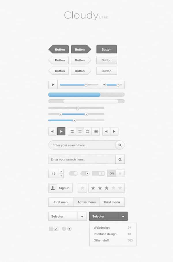 Free UI Kits: Cloudy Free Photoshop UI Kit