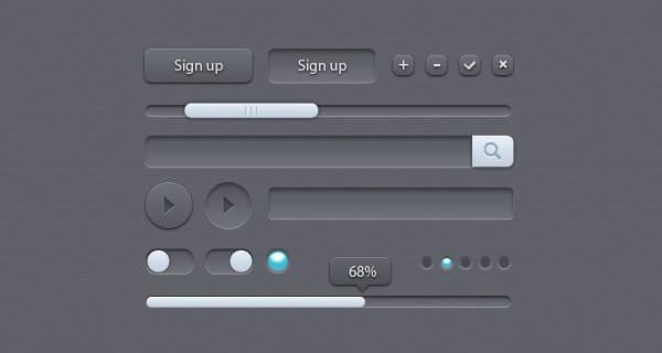 Grey Free Photoshop Ui Kit