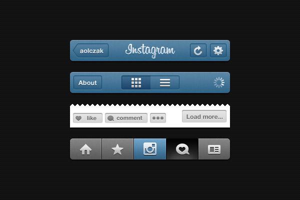 Instagram Free Photoshop UI Kit