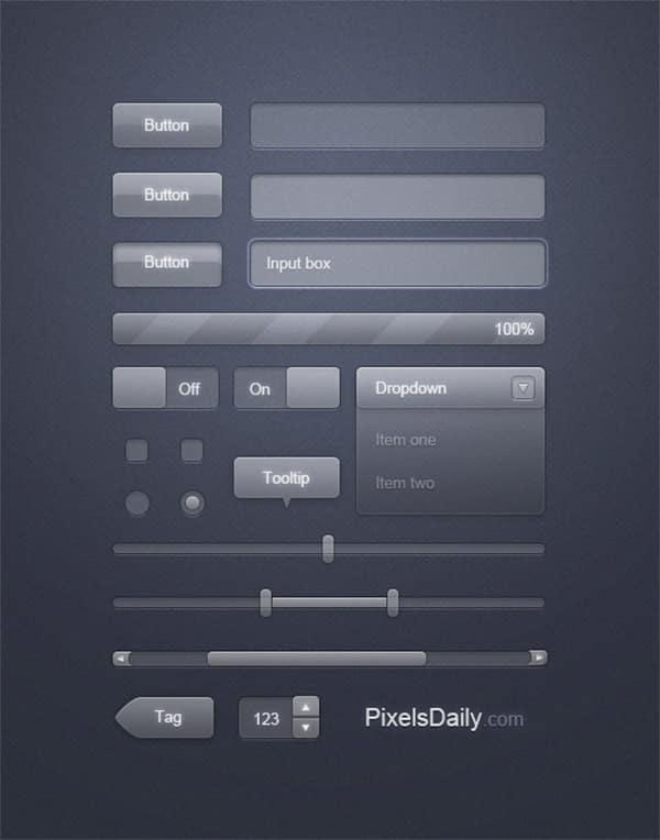 Transparent Glass Free Photoshop UI Kit