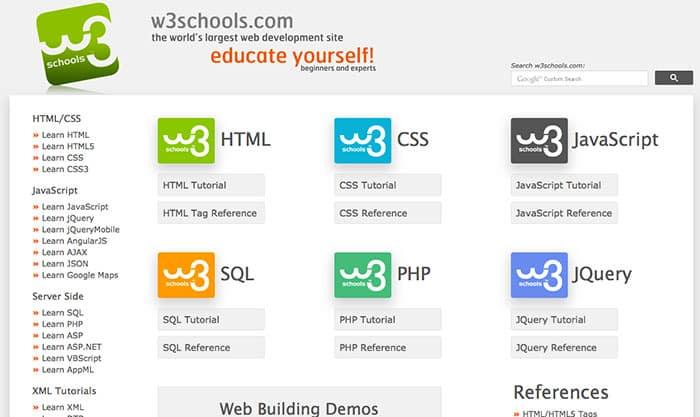 W3Schools: Learn web design