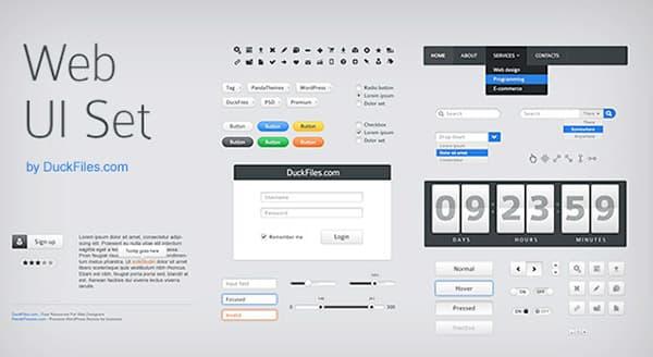 Web UI Set Free Photoshop UI Kit