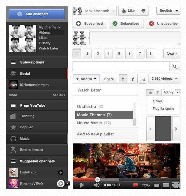 Youtube Free Photoshop UI Kit