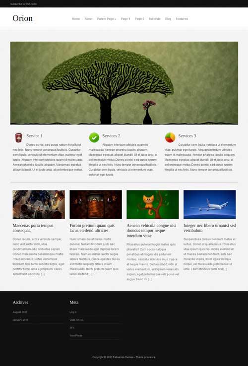 Orion: Free Responsive WordPress Portfolio Themes