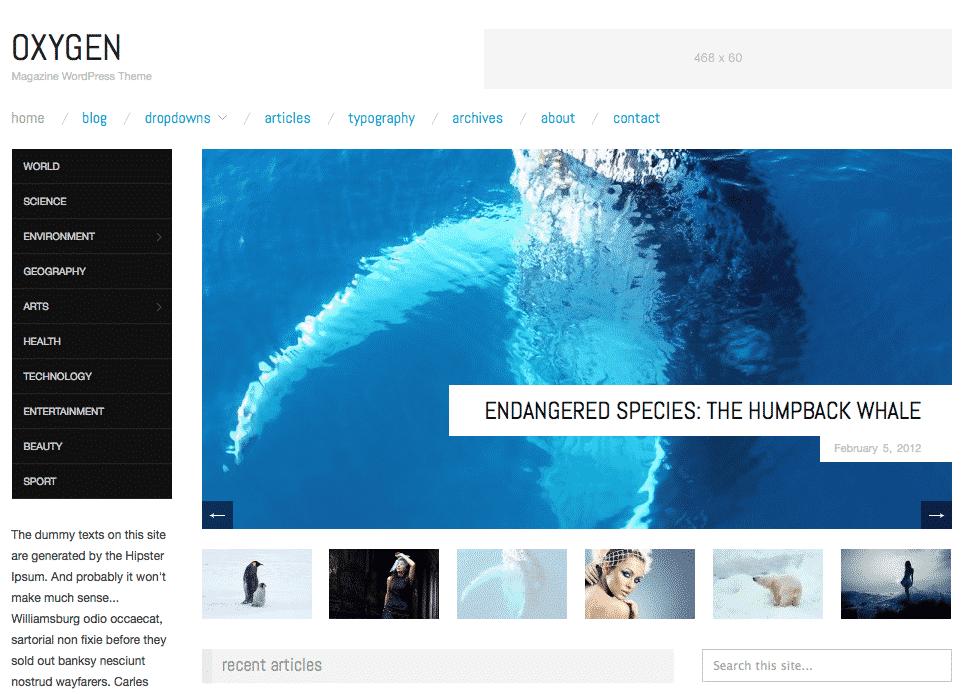 Oxygen free responsive WordPress theme