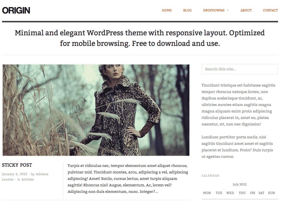 Origin free responsive WordPress theme