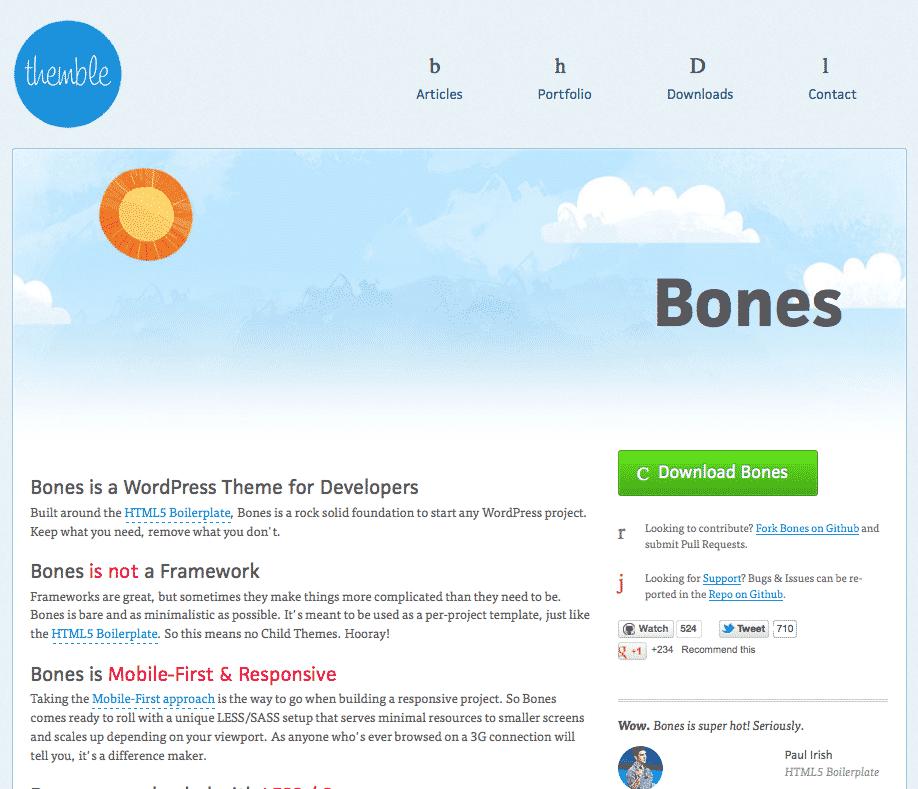 Bones free responsive WordPress themes