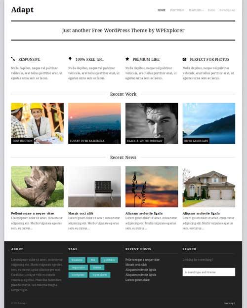 Adapt: Free Responsive WordPress Portfolio Themes