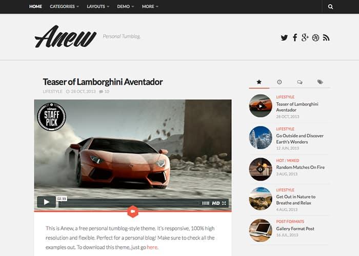 Anew: Best Free WordPress Themes 2014