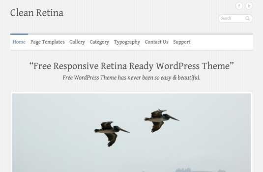 Clean Retina: Free Responsive WordPress Portfolio Themes
