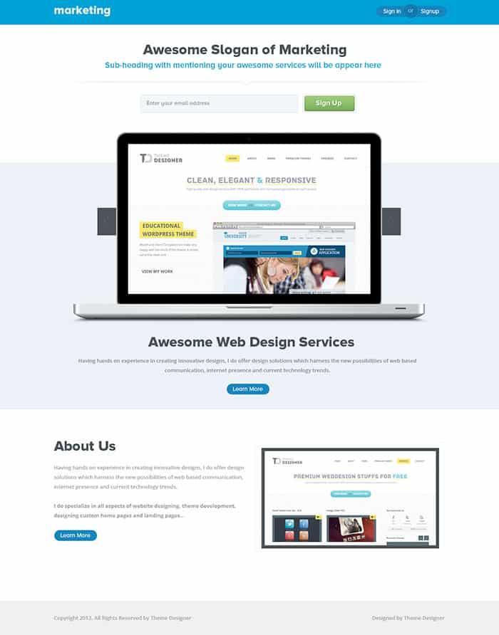 marketing landing page templates