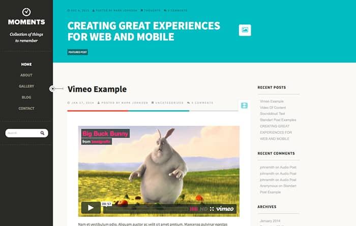 Moments: Best Free WordPress Themes 2014