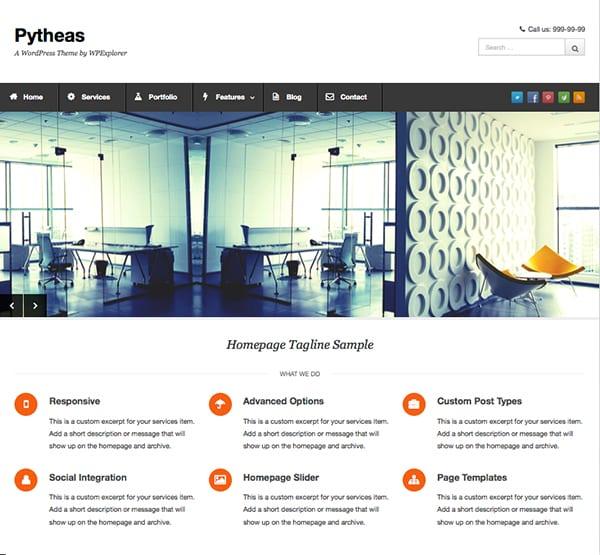 Pytheas: Free Responsive WordPress Portfolio Themes
