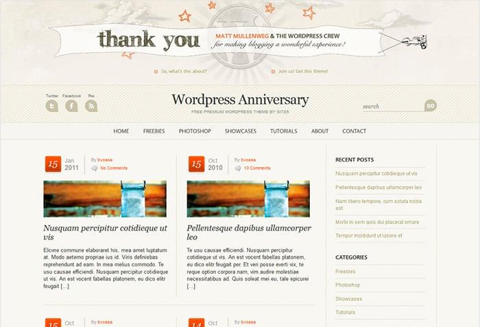 Wp Anniversary: Best Free WordPress themes 2014